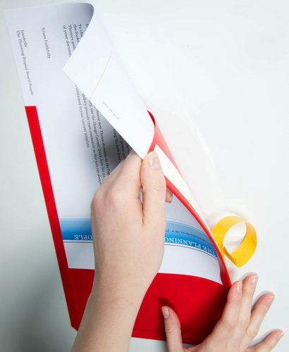 Adhesive backed Document Display Pockets. Red, A4 portrait