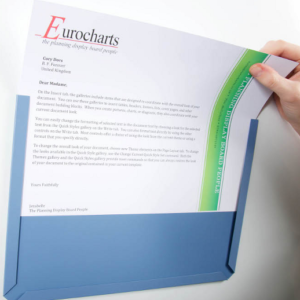 Adhesive backed Document Pocket. Blue-grey, A4 landscape