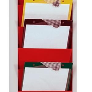 Steel Document & Clipboard Rack, red, clipboard loading