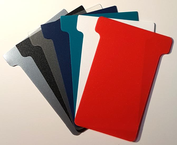Plastic T-Cards, colour swatch