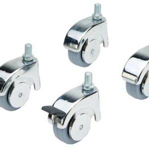 Castors, set 4, 2 locking