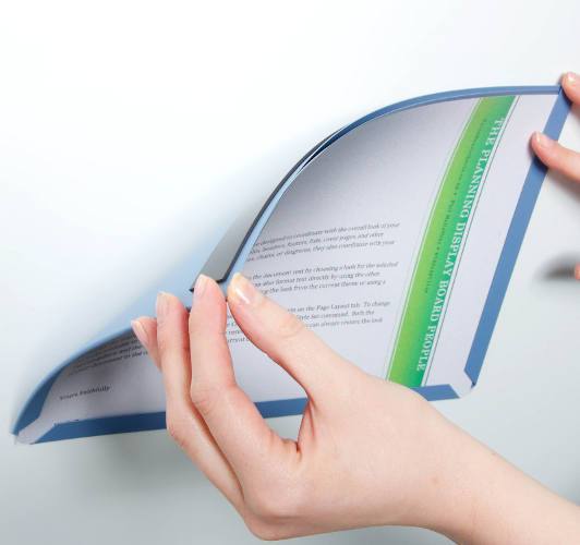 Document Display Pockets, magnetic backing application