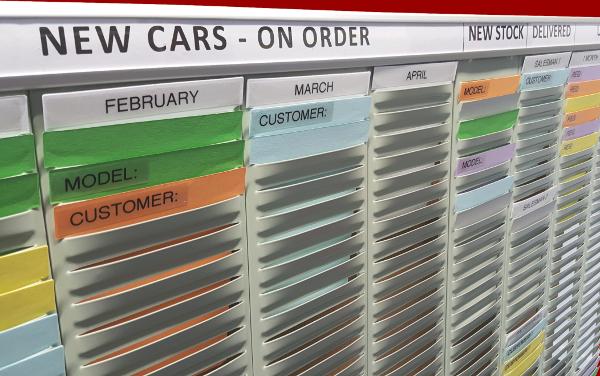 Vehicle Sales Control T-Card Board, example printed headers