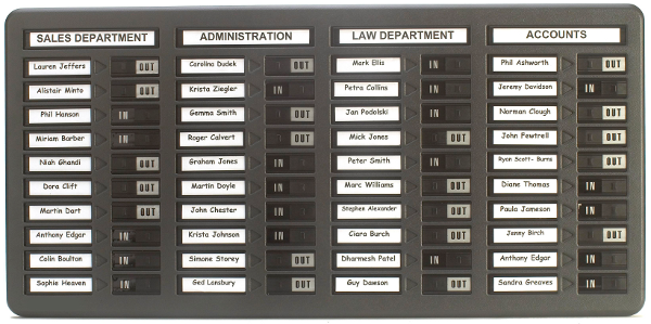 Standard In/Out Board, 40 name capacity