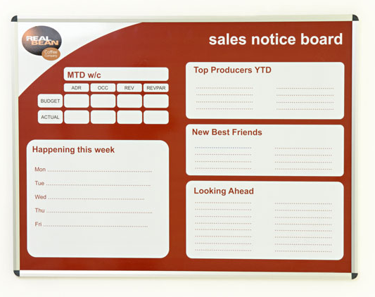 Bespoke custom colour printed whiteboard – sales notice board