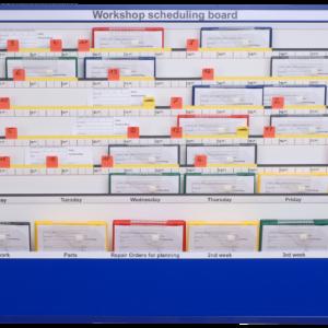 MK1 Workshop Scheduling Board, 5 station, Loaded